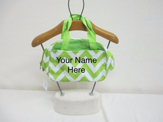 Insulated Lunch Bag Personalized Lime Green Chevron Print