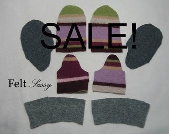 SALE - Wool Sweater Mitten Kit - Children Size DIY - Fully Lined