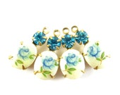 2 - Set Stones Earring Drops Vintage Oval Rose Flower Stones 1 Ring Brass Prong Settings Blue & Aquamarine Swarovski Crystal 18x8mm