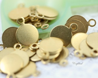 Round Brass Logo Tags 7mm with ONE Ring - 20 .