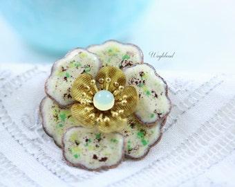 Vintage Multilayer Enamel Flower Sakura Light Yellow Opal Green Purple Ivory Cherry Blossom