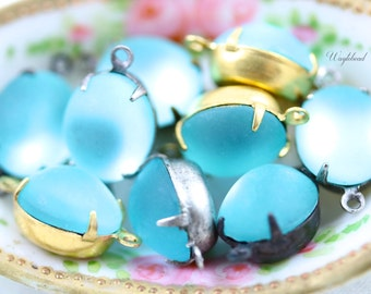 Vintage Glass Oval Stones Earring Dangle Connector Brass Prong Settings 12x10mm Frosted Aqua - 2