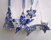 Set of  4 Christmas Decorations - Delft Blue  - Hand painted  Blue and white Delftware  porcelain