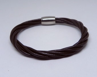 Twist Leather Wrap Bracelet Multi Strands Leather Cuff Bracelet with Stainless Magnetic Clasp in brown