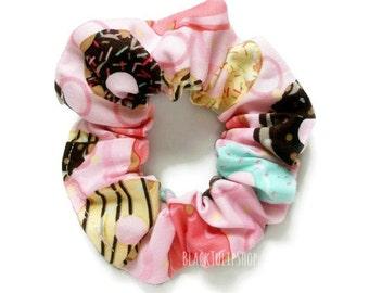 Donut Hair Scrunchie Bun Ponytails Holder Hair Tie Donuts Doughnuts Pastel Sprinkles Chocolate Strawberry Top Bun Holder Cotton Scrunchies