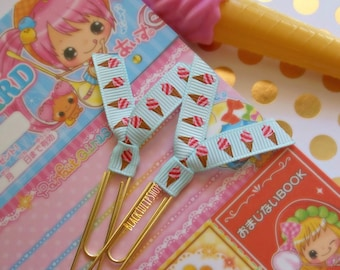 Planner Clips Cute Paper Clips Planner Accessories Planner Ice Cream Ribbon Clips Bookmarks Page Markers - 2pc or 4pc Set