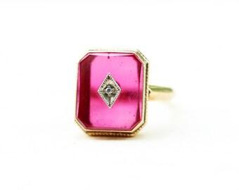 Rectangle Pink Ring, Gold Diamond Ring, 10K Gold Ring, Red Stone Ring, Gold Ring, Diamond Ring, Pink Ring, Glass Ring, Size 5 Ring