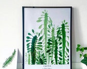 cactus print watercolour art decor home ink graphic poster nature
