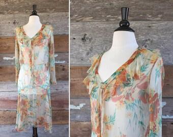 1920s dress / 1920s silk floral dress / 1920s sheer silk dress / size s - m