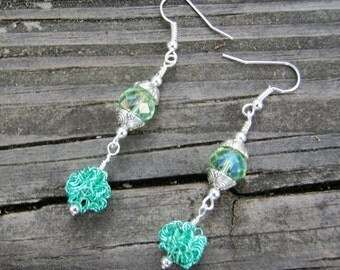 Spring Green Wire and Crystal Dangle Earrings
