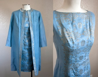 Light Blue Embroidered Shift and Jacket Set | M