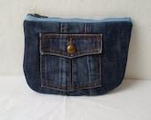 recycled denim jeans pouch,denim pencil case, upcycled, denim make up pouch, denim clutch, denim pouch, repurposed, levis, zipper pouch