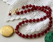 REQUEST from stephaniegucciardo  -Round Baroque Locket, Garnet Jade Stones, Classic Jewelry, Gift for Wife, Family Heirloom, Gift for Her