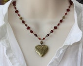 Heart Locket Antique Victorian Floral Garnet Necklace, Gift for Wife, Retro Trend, Vintage Style, Summer Trend, Red Garnet Necklace, Gift