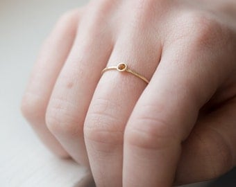 Citrine Stacking Ring // Delicate 14k Gold Ring with Yellow Citrine Gemstone // Citrine Stackable Ring, November Birthstone Ring