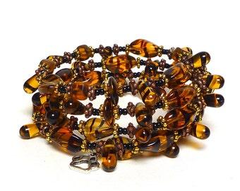 AMBER EYES coil Beaded Bracelet by Beading Divas Fundraiser