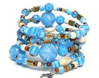 BOLD IN BLUE coil Beaded Bracelet by Beading Divas Fundraiser