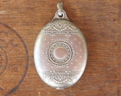 Antique French Silver Hallmarked Mirror Slide Pendant With Stars and Garlands