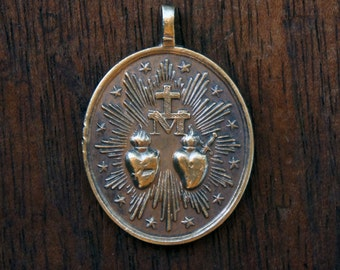 Antique French Double Sacred Heart Immaculate Mary Medallion