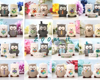 Owls wedding cake toppers - unique bride groom figurine personalized elegant custom country rustic birds anniversary bridal gift decorations