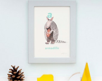 A is for Armadillo Letter print