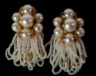 1980s Faux Pearl and Gold Bead Oversized Custer Drop Dangle Vintage Clip Earrings