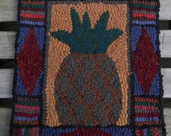 Primitive Pineapple Hand Hooked Rug or Wall Hanging