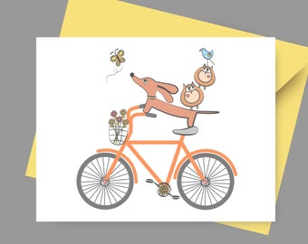 Doxie Dachshund Card - Doxie and Owls Ride a Bicycle with Envelope and Sticker