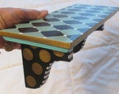 Upcycled vintage wood shelf hand painted harlequin & polka dots MacKenzie Childs style