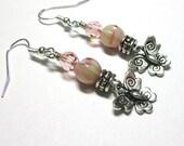 Butterfly Earrings, Rose Green Butterfly Earrings, Spiritcatdesigns,  Silver, Butterfly Charm