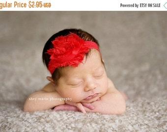 Red Christmas Headband - Infant Headband - Baby Headband - Newborn Headband -  Shabby Chic Flower Rose on Red Stretch Headband - Photo Prop