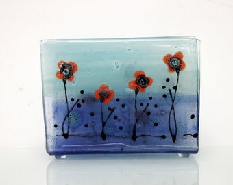 Fused Glass napkin holder , red Poppies in Calm Aqua blue  landscape .