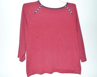 Red & Black Striped Bateau Neck Long 3/4ths Sleeve Tshirt Top Cruise Wear Cotton Tee T Shirt Normcore Cute Boat Nautical Vaca Sailor Buttons