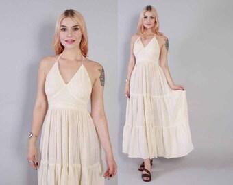 Vintage 70s Halter DRESS / 1970s Boho Ivory Indian India Cotton Gauze Backless Maxi Dress xs