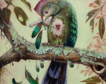 The unstoppable current of the new - turaco bird painting