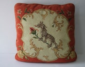 RESERVED Vintage Orange Chinoiserie Needlepoint Pillow