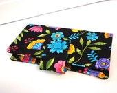 Fabric Checkbook Cover, Checkbook Holder Cash Holder - Black Floral with Teal Lining