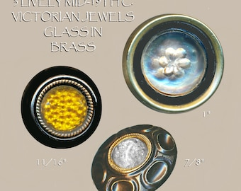 Buttons--3 Mid-19th C. Victorian Glass Jewels--Drum Included