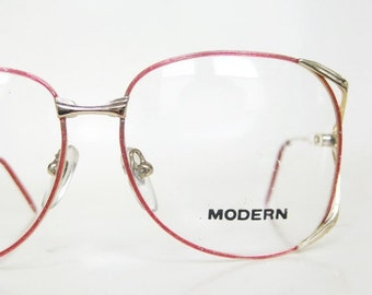 POP SALE Vintage 1980s Red Wire Rim Eyeglasses Womens Glasses Brass Metallic Indie Hipster Chic 80s Eighties Cherry Bright Colorful Deadstoc