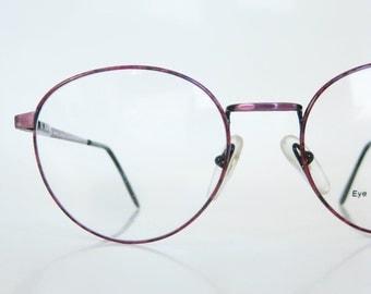 Vintage 1980s Round Eyeglasses Dark Rose Metallic Shiny 80s Eighties P3 Womens Ladies Italian Italy Optical Frames Deadstock NOS