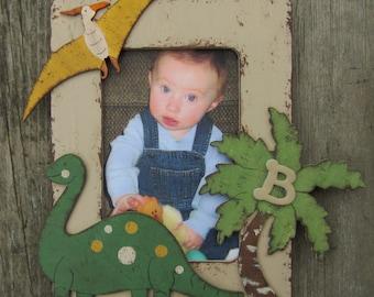 DINOSAUR Kids Wood Picture Frame - Original Hand Painted