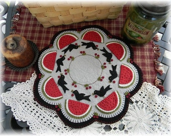 Crow's Picnic Penny Rug/Candle Mat MAILED PAPER PATTERN