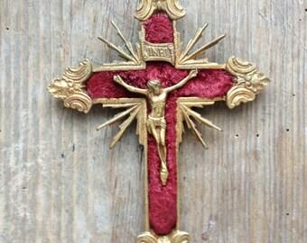 Antique Brass and velvet Crucifix
