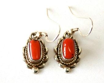CHRISTMAS SALE Coral //// Sterling Silver Earrings
