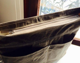 ZIPPER UPGRADE for Waxed Canvas Bag ,tote  bag or  Pleated Stockholm Striped bags