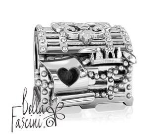 Jewelry Box Fleur De Lis Treasure Chest Bead Charm - 925 Silver - Fit Pandora and Compatible European Brand Bracelets - BELLA FASCINI® F-65N