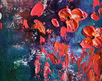 """Original Abstract Oil Painting on Panel Impasto Flowers Heavy Textured Sculpted Painting Red Poppies  7x10"""""""