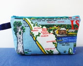 New Zealand zipper purse, North Island map pencil case, Whangarei and Kerikeri, kauri tree, upcycled and reclaimed fabric
