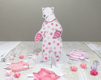 Polar bear dress up paper doll with clothes - polar bear gift - childrens activity