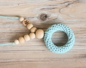 Nursing necklace with a teething ring - turquoise - nursing necklace breastfeeding statement jewelry - free shipping